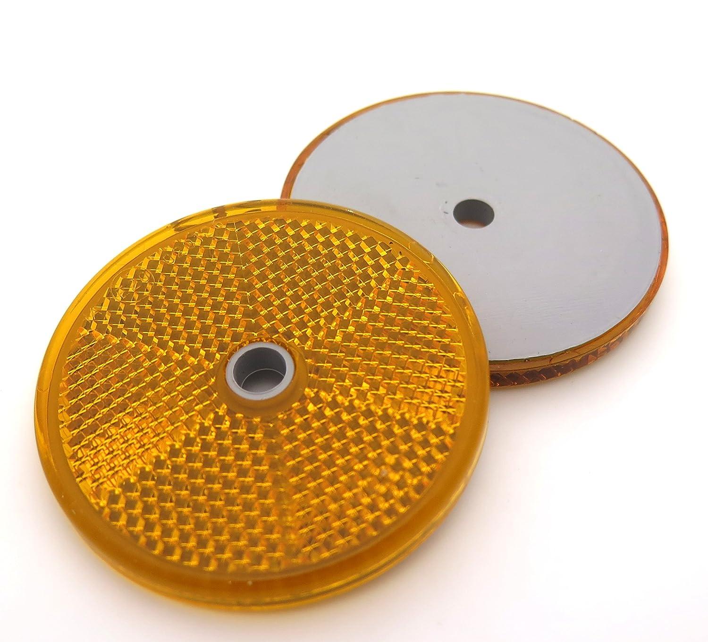 Reflectors x2, Amber / Orange, Round / Circular, 59mm - FREE FIRST CLASS UK POSTAGE! Aspock