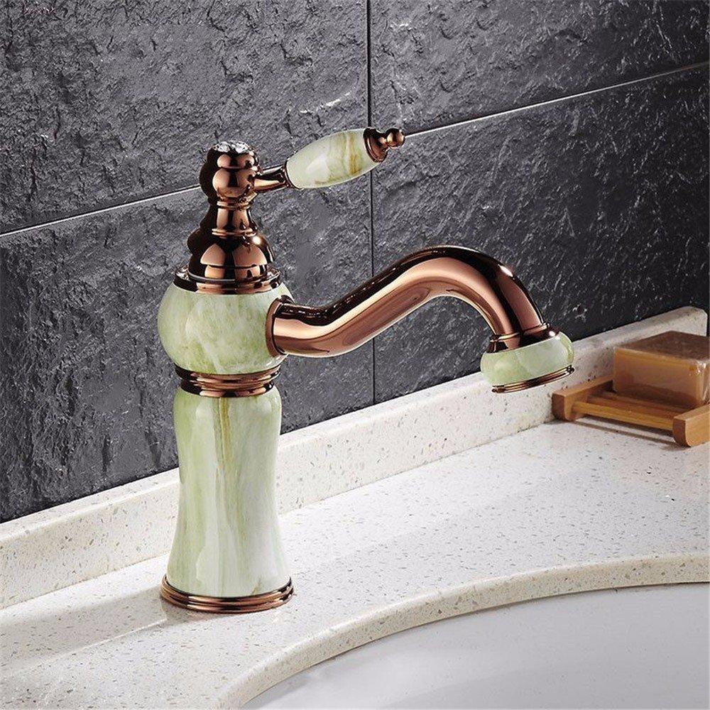 B Bathroom Sink Taps Retro Jade pink gold Paint Bathroom Washbasin Taps Can redate 360 Deg Basin Taps,B