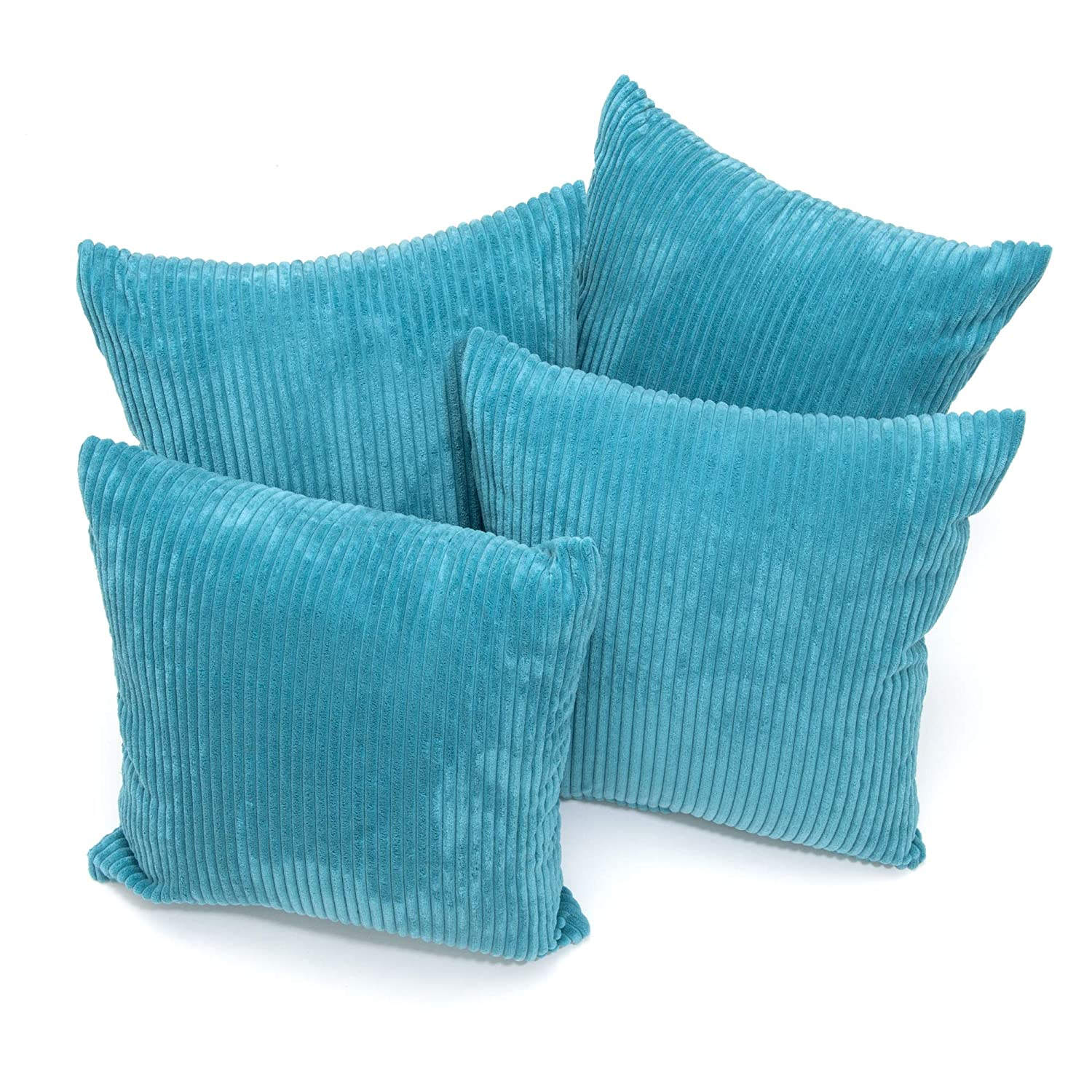 A Set of Four 18in x 18in Chenille Stripe Cushion Covers in Teal CB Home