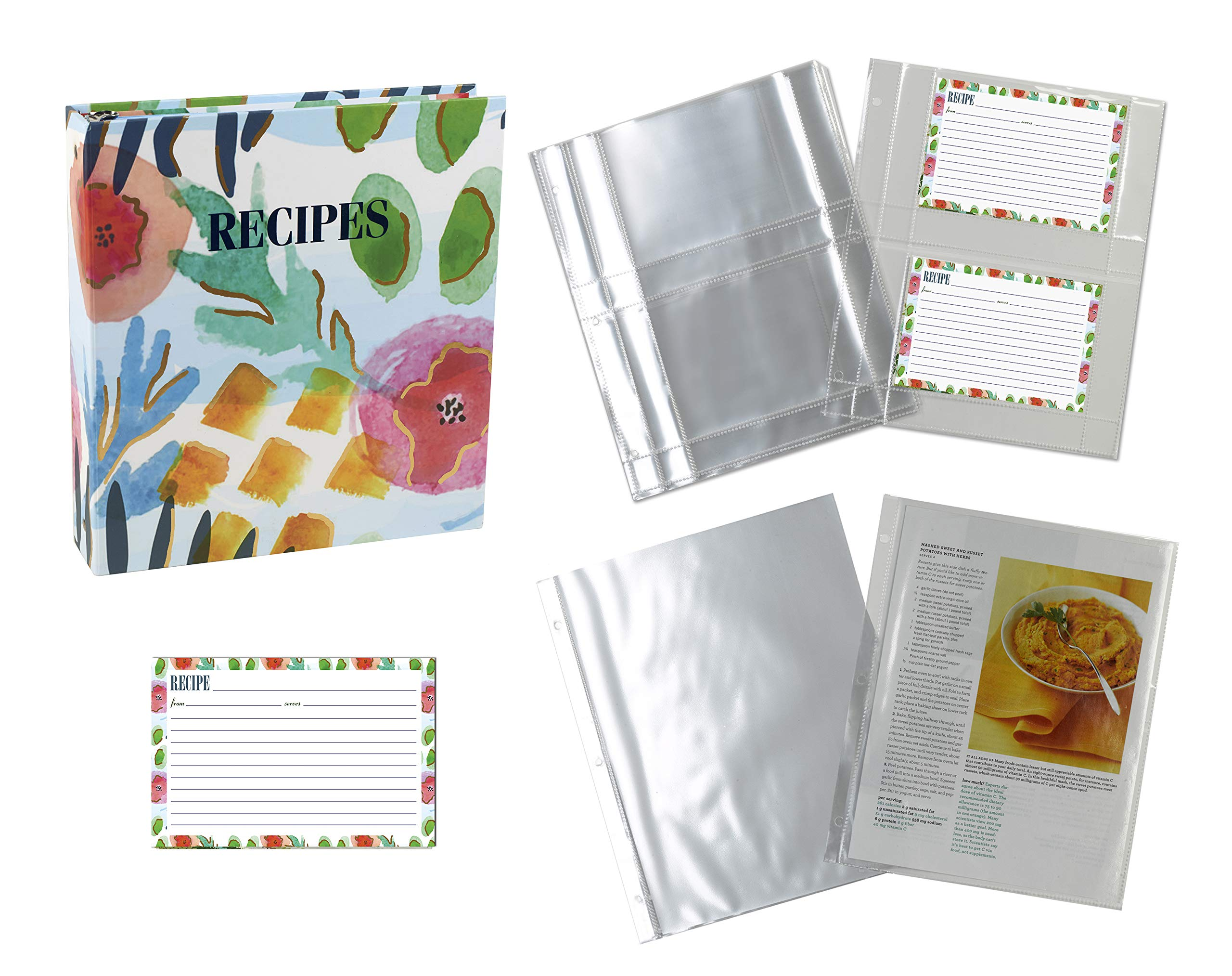 Meadowsweet Kitchens Recipe Binder Organizer Gift Set with Recipe Cards and Plastic Protector Sheets (Watercolors) by Meadowsweet Kitchens