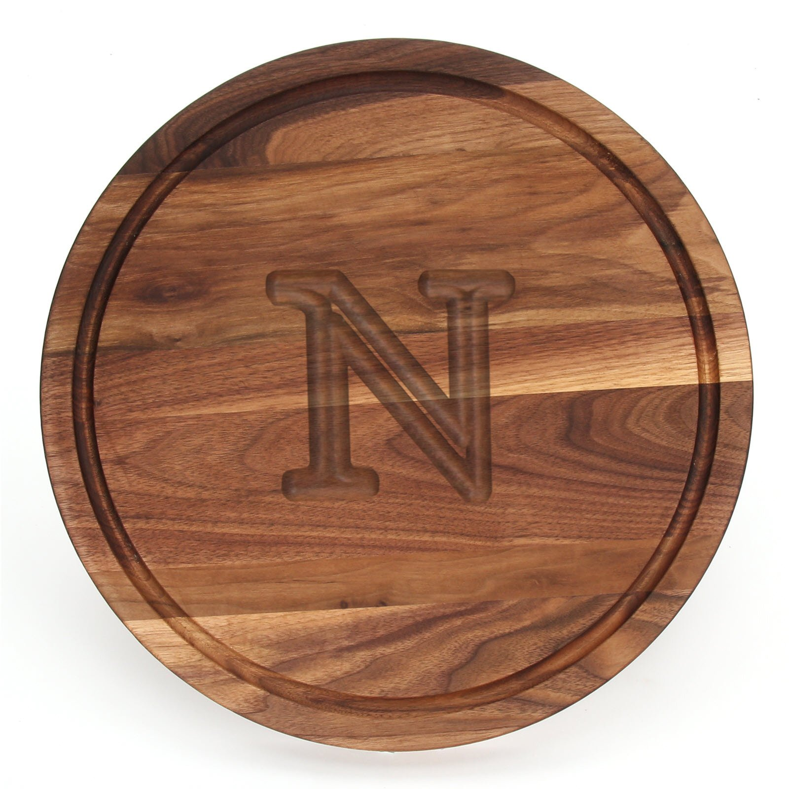 BigWood Boards W110-N Cutting Board, Monogrammed Cutting Board, Medium Round Cheese Board, Thick Walnut Wood Serving Tray, ''N''