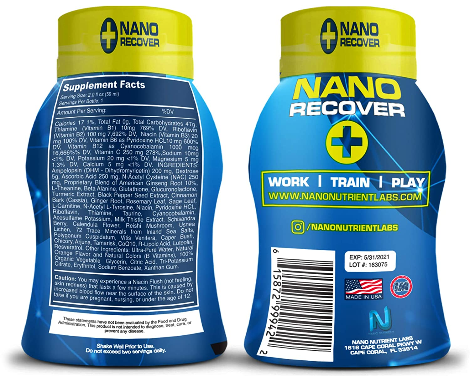 Nano Recover | Clinical Grade Hangover Cure Recovery Shot | Morning After  Alcohol Recovery Drink |