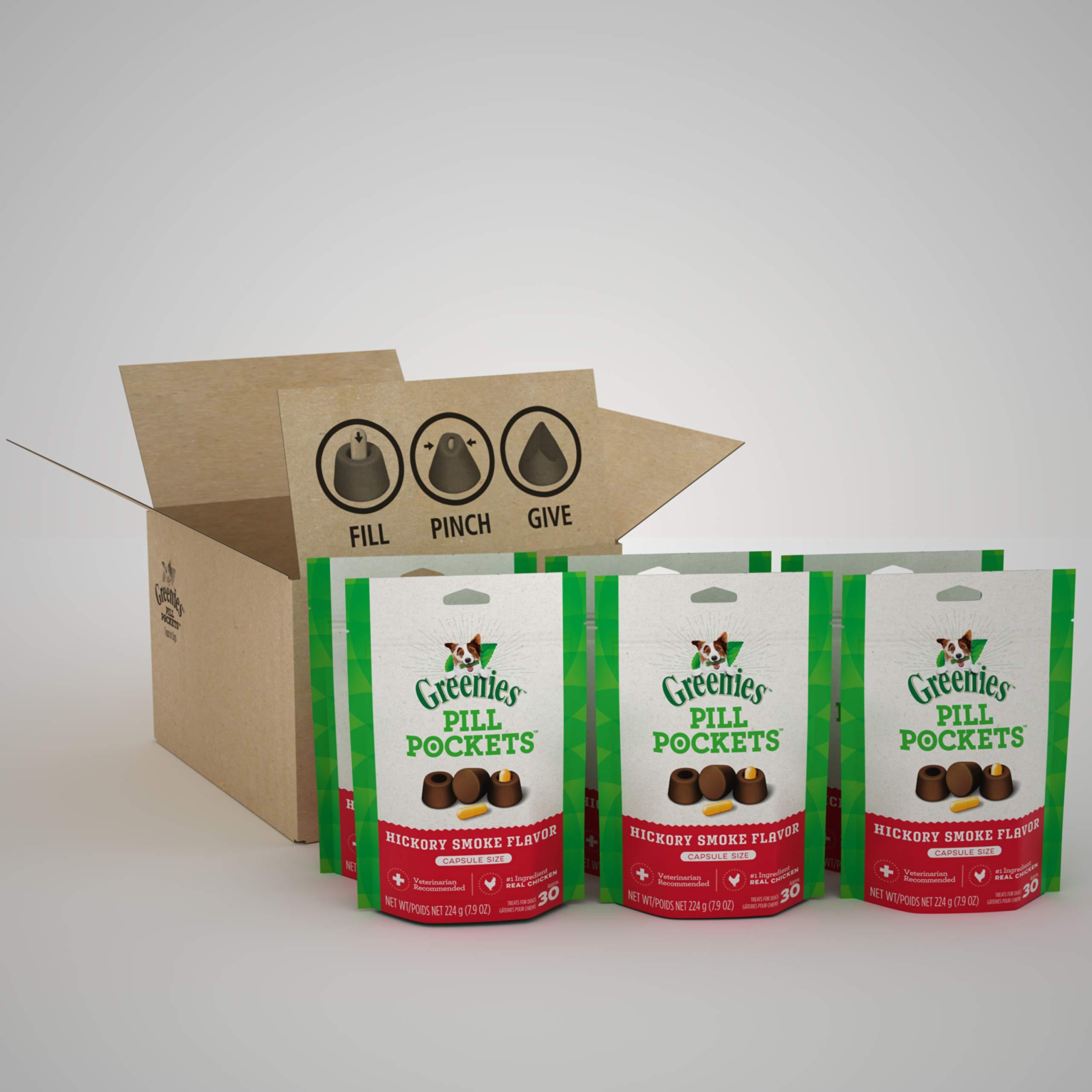 GREENIES PILL POCKETS Capsule Size Natural Dog Treats with Hickory Smoke Flavor, (6) 7.9 oz. Packs (180 Treats)