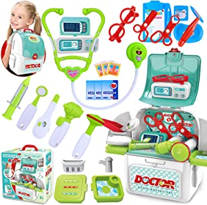 INNOCHEER Doctor Kit for Kids 22 Pieces Pretend-n-Play Medical Toys Set with Extra Large Backpack Case for Little Toddler Girls Boys 3-6 Years (Upgraded Verison)