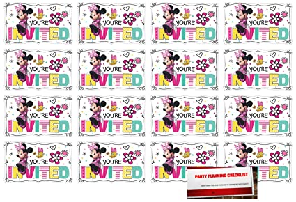 Amazon Com 16 Minnie Mouse Postcard Invitations Birthday Party