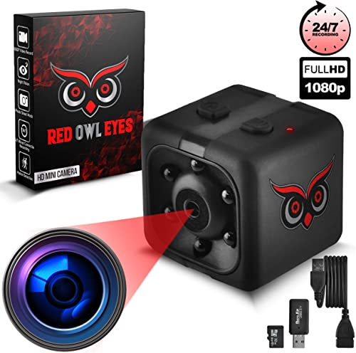 RED OWL EYES Spy Camera – Mini Hidden Camera 1080P Night Vision – Easy to Use Mini Camera Spy Wireless – Spy Cam Motion Detection – Nanny Camera – Small Camera – Secret Camera – 24 7 Recording