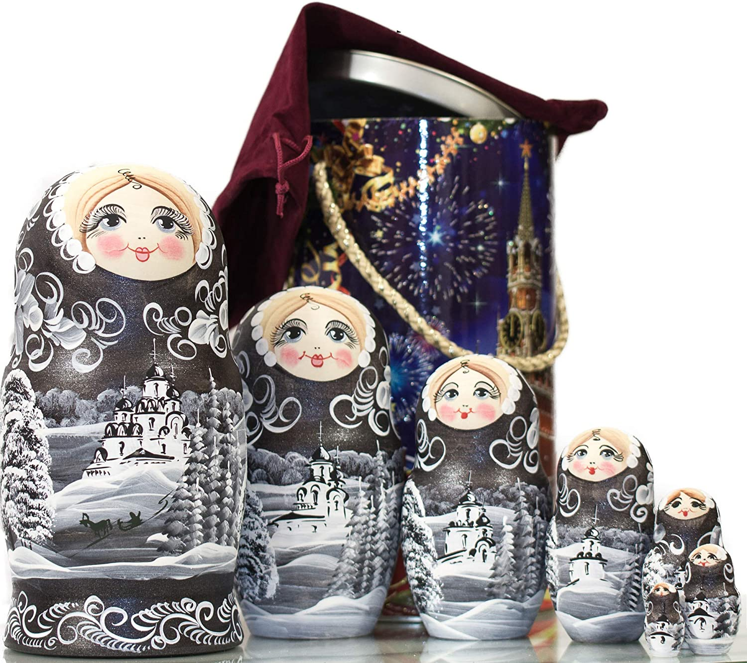 7 Dolls in 1 Russian Nesting Doll 8`` Wooden Decoration Gift Doll Winter`s Tale Traditional Matryoshka Babushka , Purple Moscow Kremlin Gift Box Hand Painted in Russia