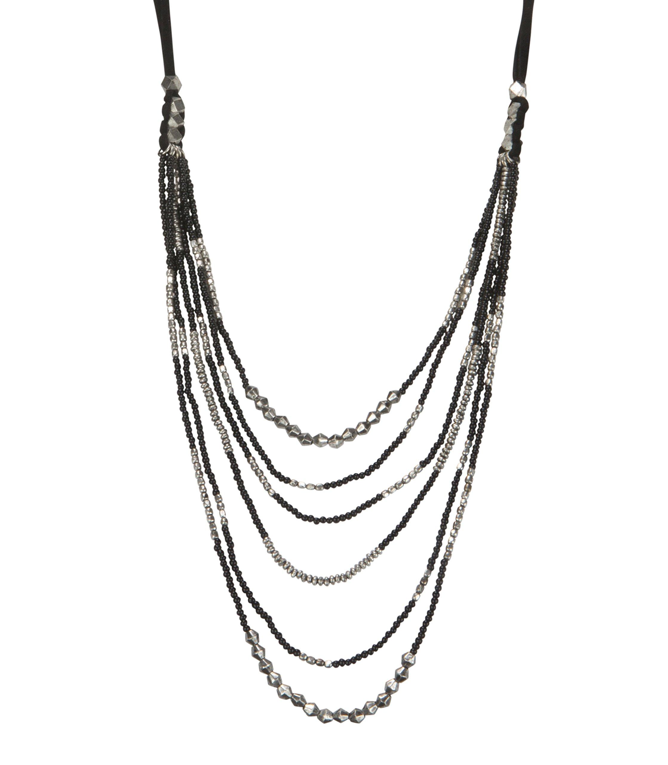 SPUNKYsoul Leather Bead Necklace Multi Layered Black & Silver