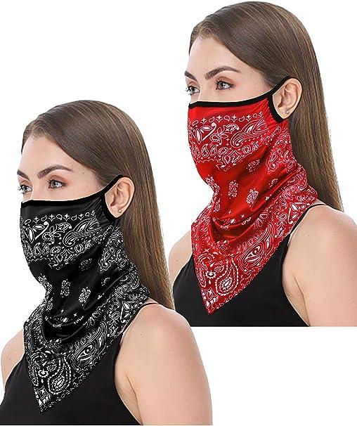 Satinior Sommer Gesichtsabdeckung Ohrschlaufen Uv Schutz Hals Gamasche Schal Atmungsaktives Bandana Für Frauen Männer Bekleidung
