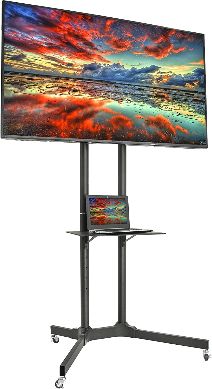 VIVO Mobile TV Cart for 32-65 inch LCD LED Plasma Flat Panel Screen TVs up to 110 lbs, Pro Height Adjustable Rolling Black Stand with Laptop Shelf & Locking Wheels - Max VESA 600x400 (STAND-TV03E) : Office Products