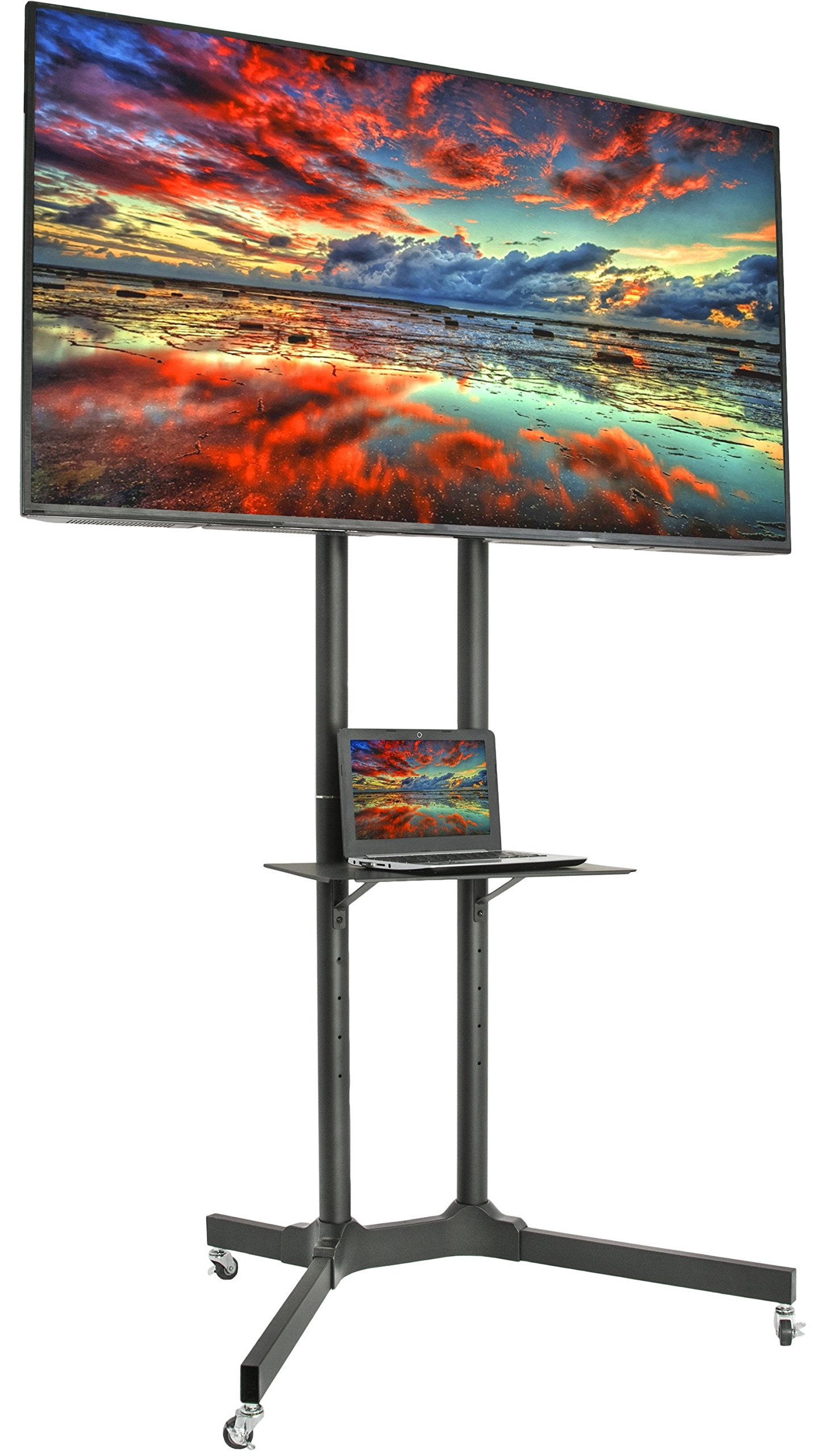 VIVO Black TV Cart for LCD LED Plasma Flat Panel Stand w/Wheels Mobile fits 32'' to 65'' (STAND-TV03E)