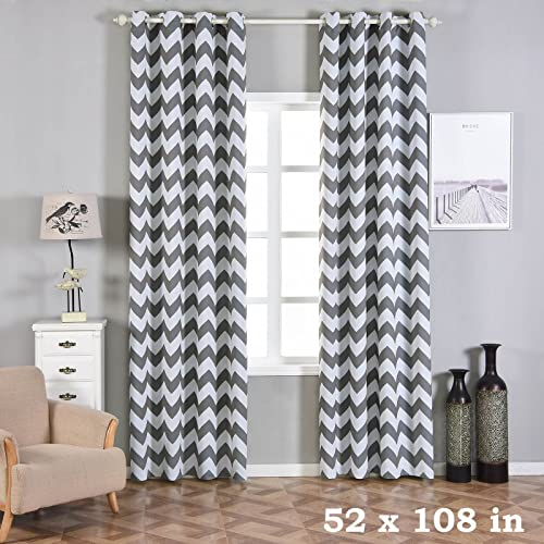 BalsaCircle 52 x 108-Inch Charcoal Grey Chevron Blackout Window Drapes Curtains 2 Panels with Grommet Top – Home Decor Decorations