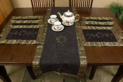 Hand Painted 7-Piece Placemat u0026 Table Runner Set (Coffee Brown) & Amazon.com: Hand Painted 7-Piece Placemat u0026 Table Runner Set (Coffee ...