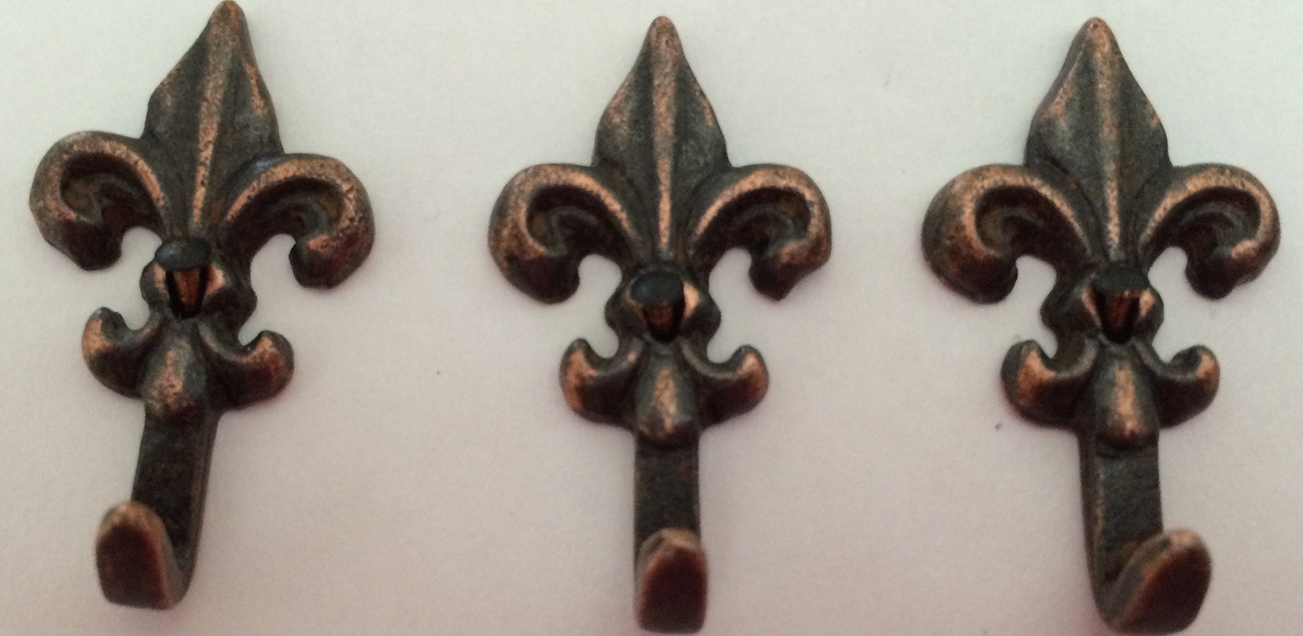 3PC SET''MINI'' FLEUR de LIS HOOKS OILED RUBBED BRONZE HK-509OB