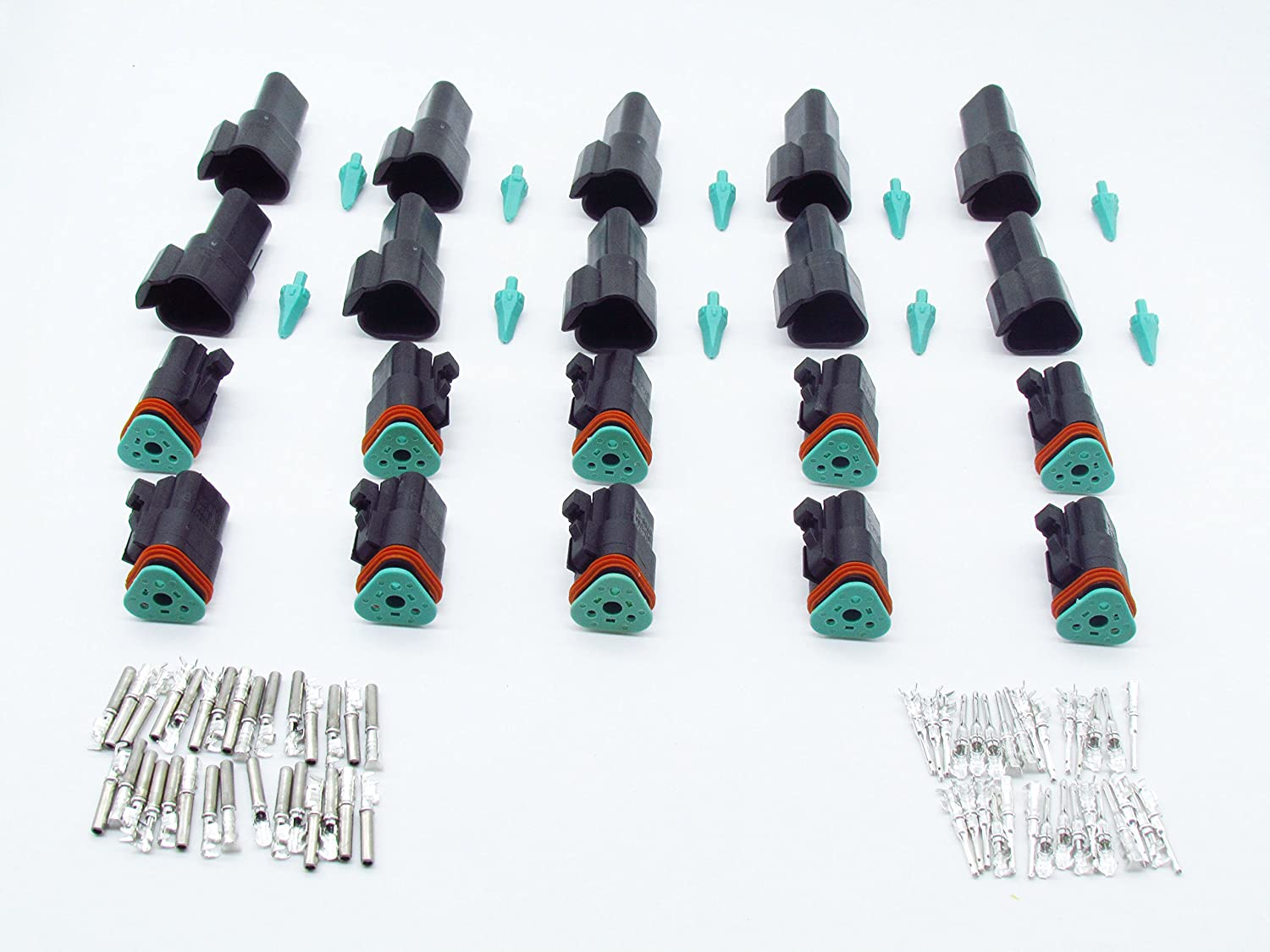 CNKF 10 Sets DT 3 Pin black male female adapter auto Waterproof Electrical Wire Connector Plug DT06-3S DT04-3P