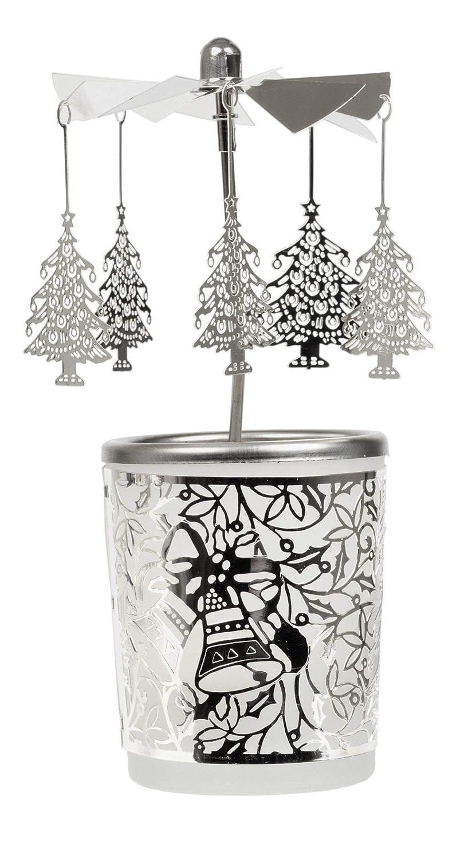 Hellmann GIOSTRINA karusell Bicchiere Vetro Albero di Natale Argento