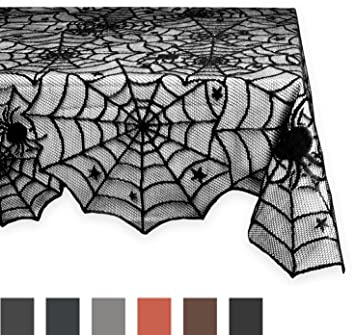 DII 54x72u0026quot; Rectangular Polyester Lace Tablecloth, Black Spider Web    Perfect For Halloween,