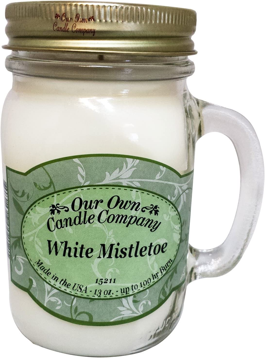 Our Own Candle Company White Mistletoe Scented 13 Ounce Mason Jar Candle