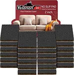"Yelanon Non Slip Furniture Pads – 24 pcs 2"" Furniture Grippers ! Self Adhesive Rubber Feet Furniture Feet – Non Skid Furniture Pad Floor Protectors for Floor Couch Chair Legs"