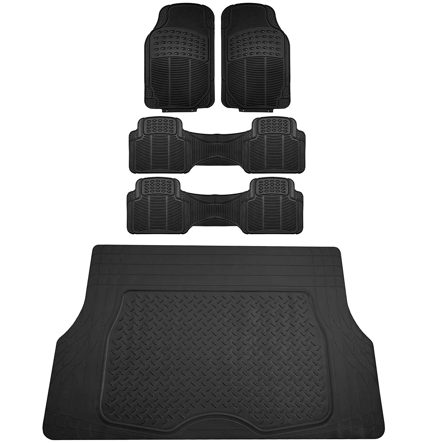 FH Group F11308 All Weather Vinyl Floor Mats Gray Color Full Set Trimmable Custom Fit