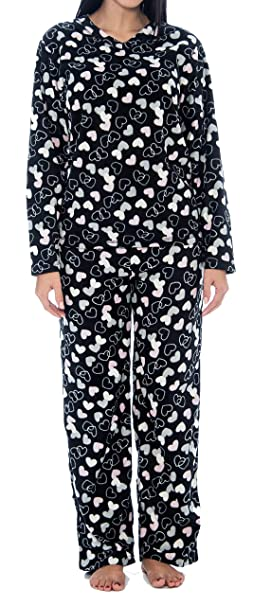 8f8281c144e8 Unique Styles Winter Pajamas for Women Petite Button Up pj Sets Long Sleeve  Pijama Black