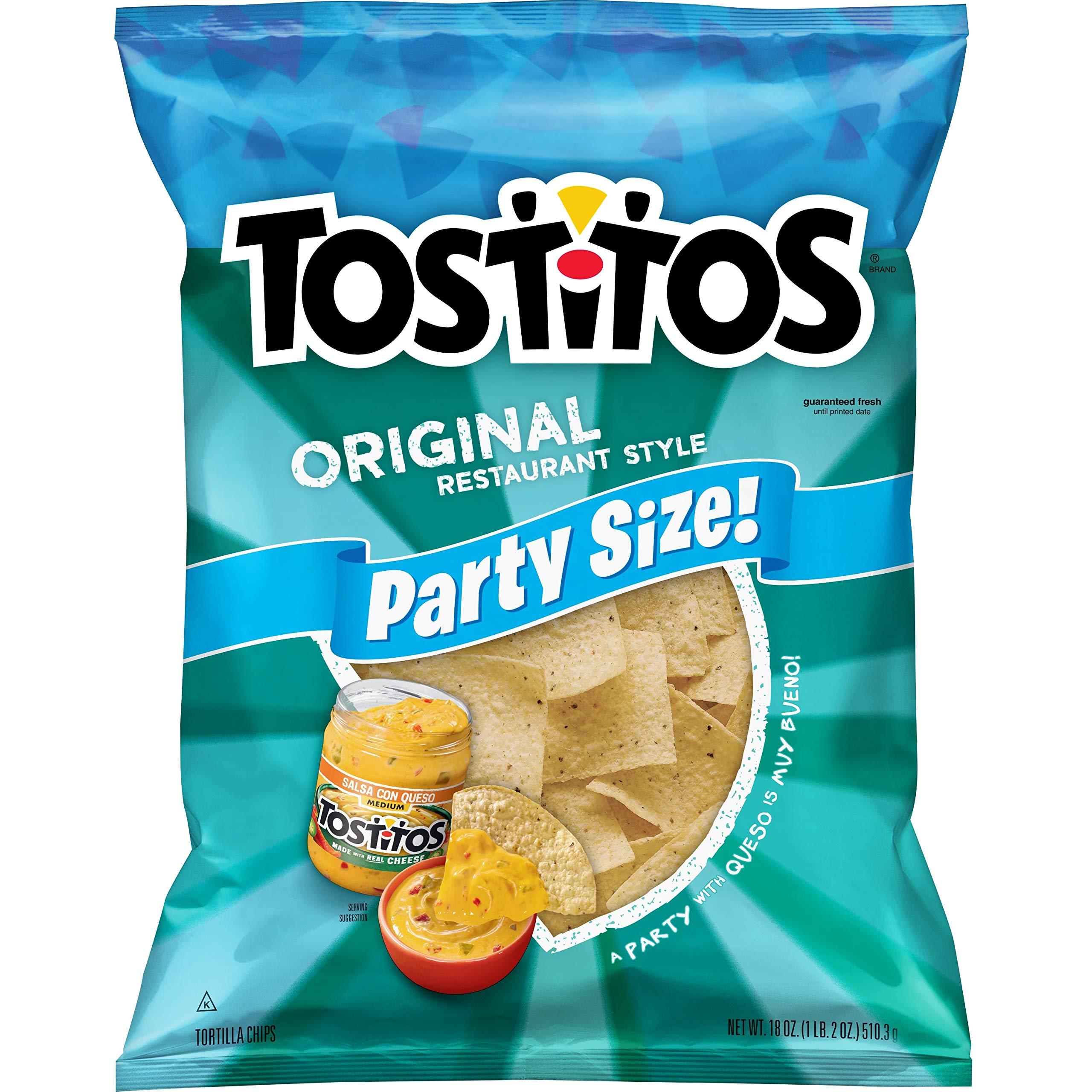 Tostitos Original Restaurant Style Tortilla Chips, Party Size, 18 oz Bag - 3 pack