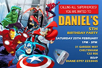 avengers superhero birthday party invitations envelopes click