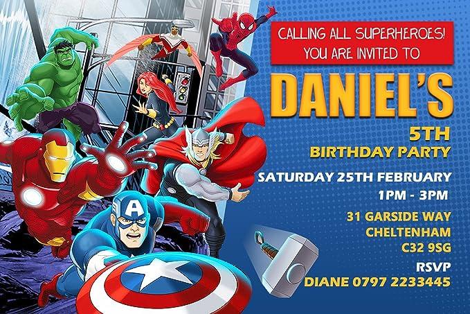 Los Vengadores escuadrón de invitaciones para fiesta de ...