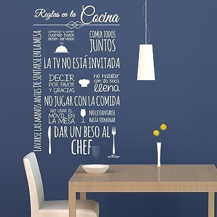 Enkolor/Vinilo cocina/Pegatinas pared/Adhesivos Frases Normas/Blanco ...
