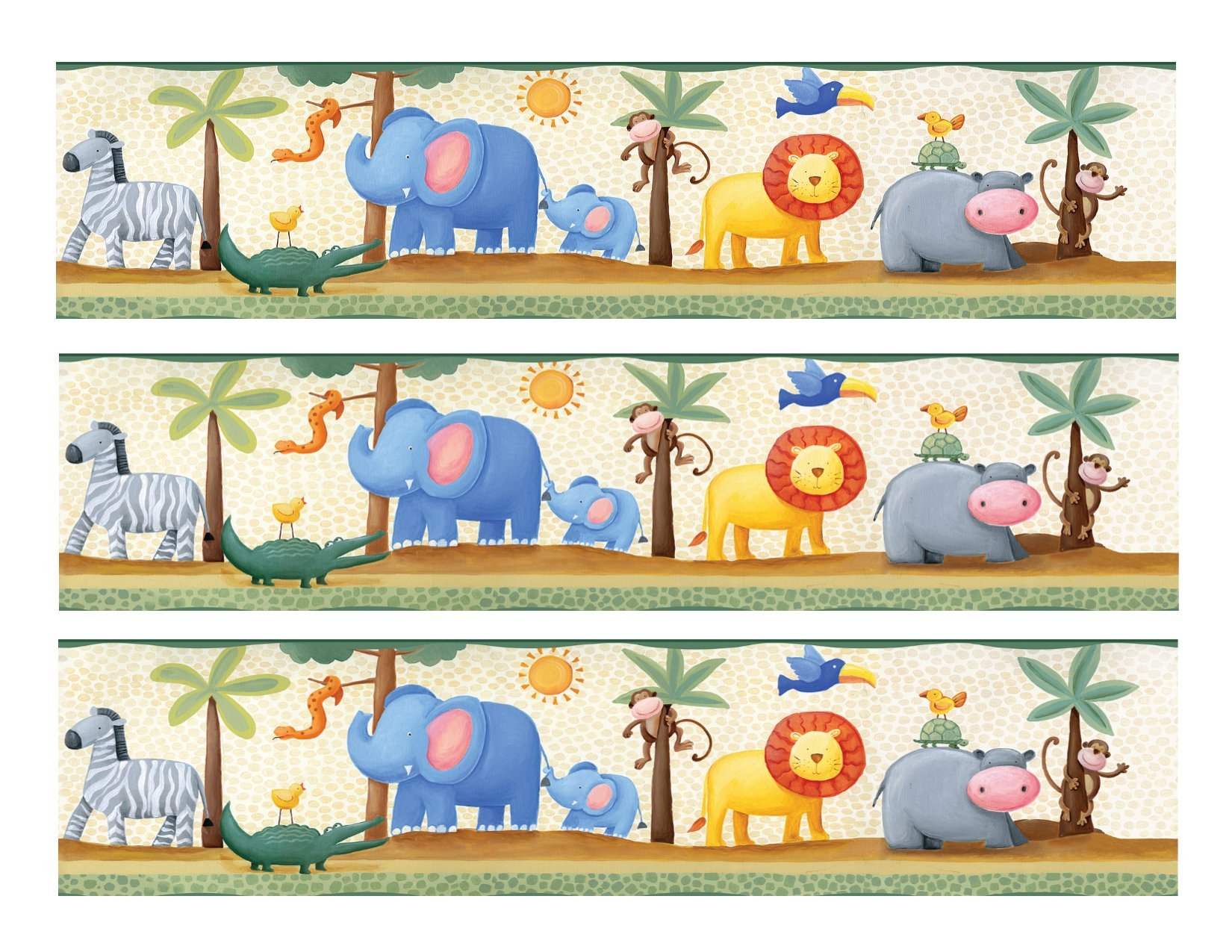 Jungle Animals cake Edible Icing Image border strips (3 Strips)