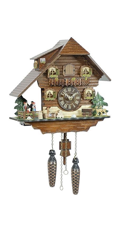 lovely Quartz Cuckoo Clock Part - 19: Trenkle Quartz Cuckoo Clock Black forest house, turning dancers