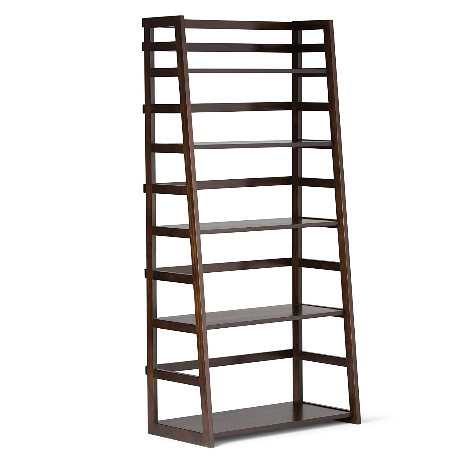 simpli home acadian solid wood ladder shelf bookcase rich tobacco brown