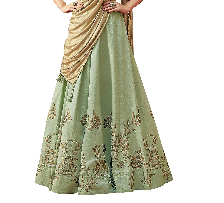 4c37c5de5bbbc Mahotsav Women s Silk Semi-Stitched Lehenga Choli (Pastel Green Free Size)   Amazon.in  Clothing   Accessories