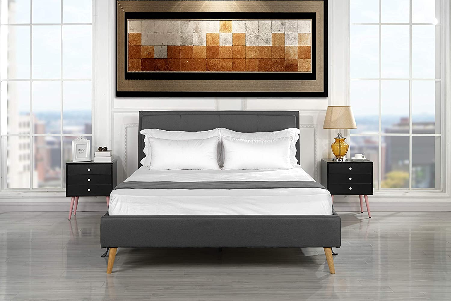 Mid Century Modern Upholstered Bed Frame with Tufted Headboard Queen, Dark Grey