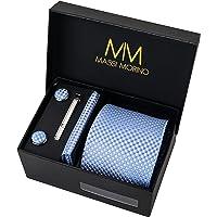 Massi Morino Corbatas de hombre con pañuelos y gemelos y alfiler I Set regalo para hombres incluido clip de corbata