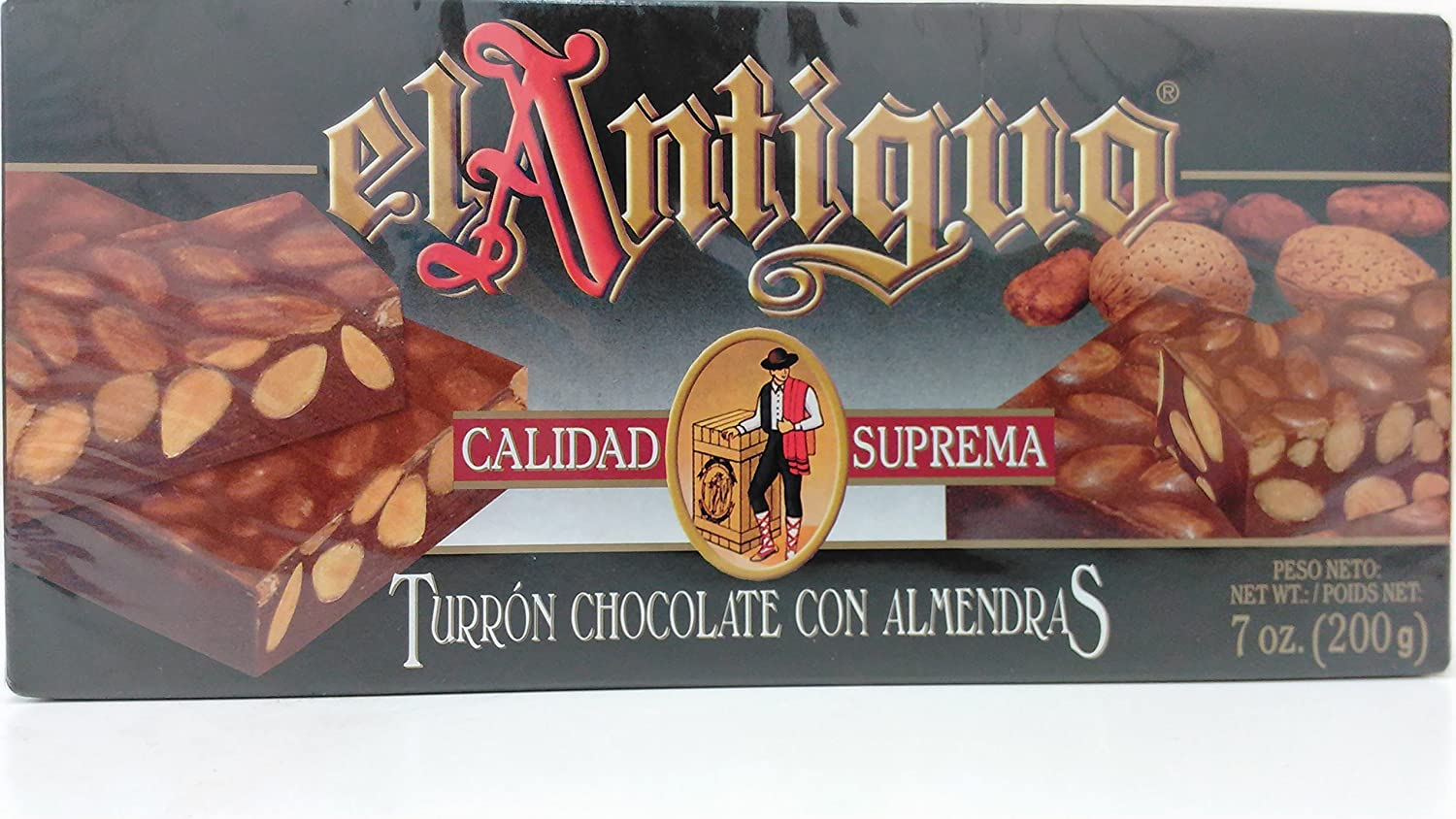 Amazon.com : El Antiguo Calidad Suprema Turron Chocolate Con Almendras - Chocolate Almond Nougat : Grocery & Gourmet Food