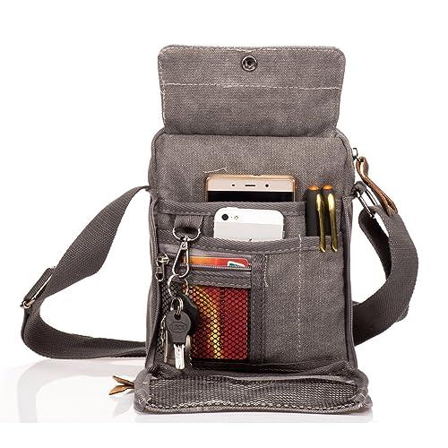 Outreo Bolsos de Tela Pequeñas Bolso Bandolera Hombre Bolsos Originales Vintage Bolsas de Viaje para Tablet Escolares Bolsa de Lona Colegio Universidad ...