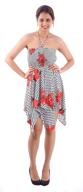ee7b3b81b27 Sunrose Dot N Floral Printed Halter Backless Tube Dress Tunic at Amazon  Women s Clothing store