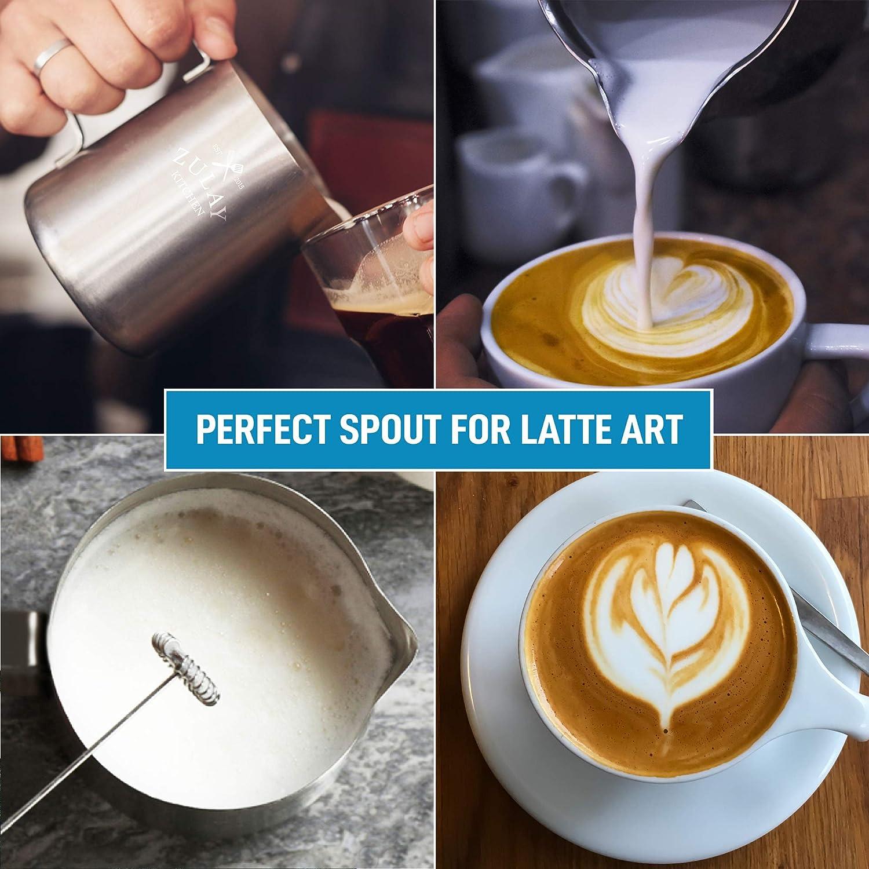 la Production de Mousse pour Le caf/é Matcha Chai Latte Cappuccino et chocola Zulay Kitchen /â /€ Pitcher mousser /« Le fouets /à Lait Steamer Cup Facile /à Lire Creamer mesures /à lint/érieur
