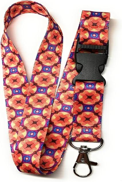 Spirius Multicolor Fashion Lanyard correa de cuello para colgar ID/ colgar las llaves, con clip de metal 1q., color Flores: Amazon.es: Oficina y papelería