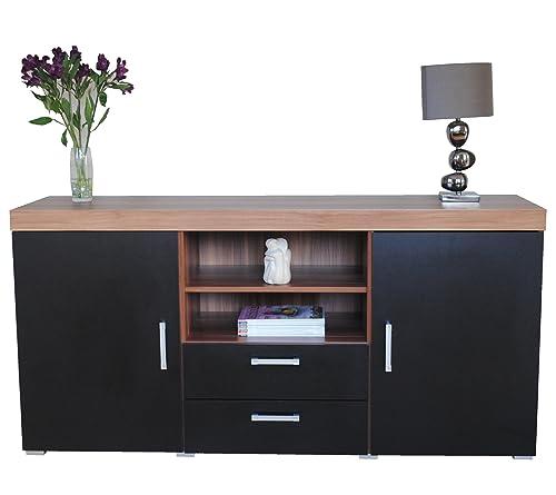 Sideboard or Cupboard Black Ash 4 Drawer 2 Door Chrome Trim Finish by Blackpool Amazon co uk