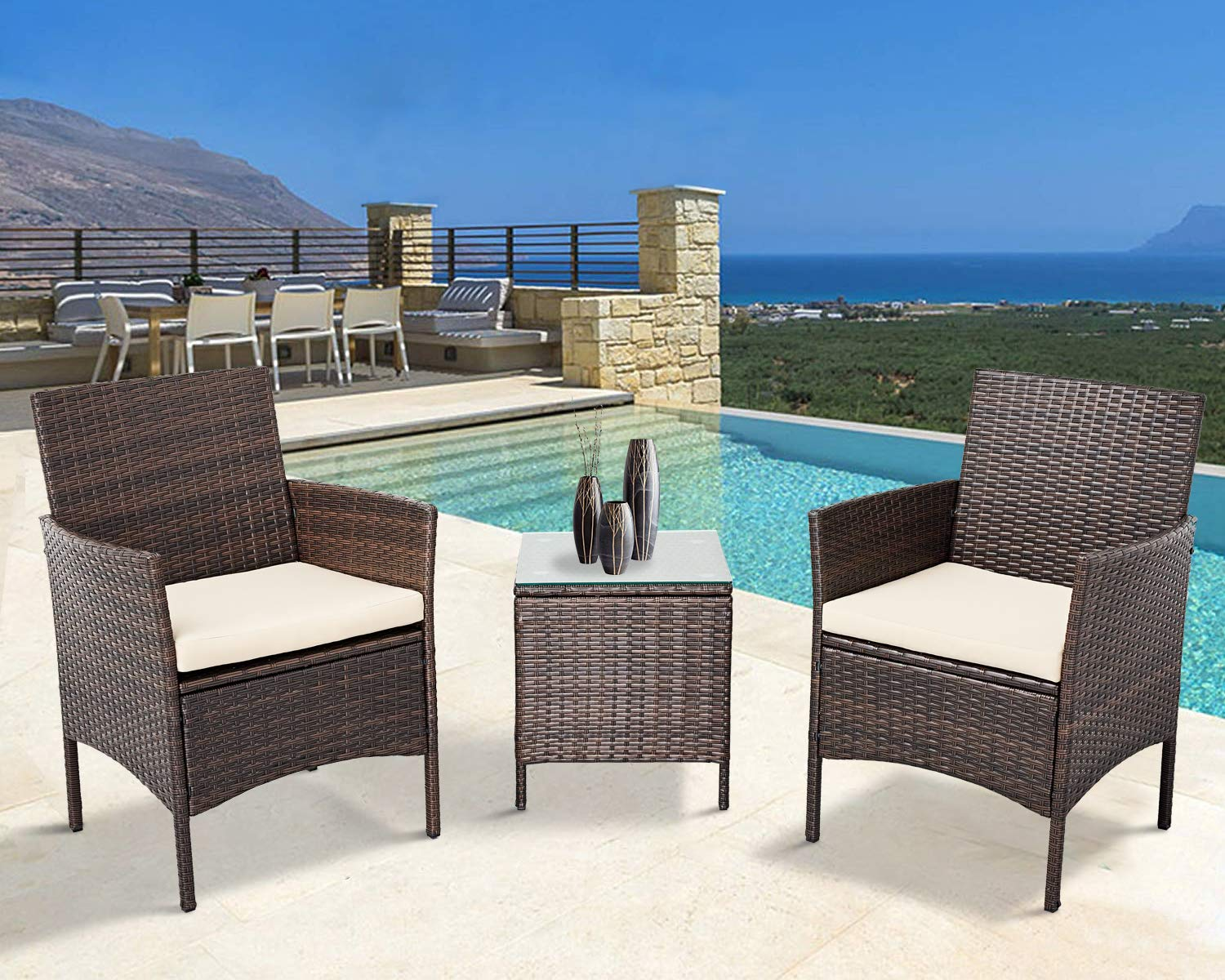 Oakmont Outdoor 3-Piece Rattan Wicker Bistro Set Brown Conversation Furniture 2 Chairs with Glass Top Coffee Table Sets Beige Cushions Backyard, Pool, Garden