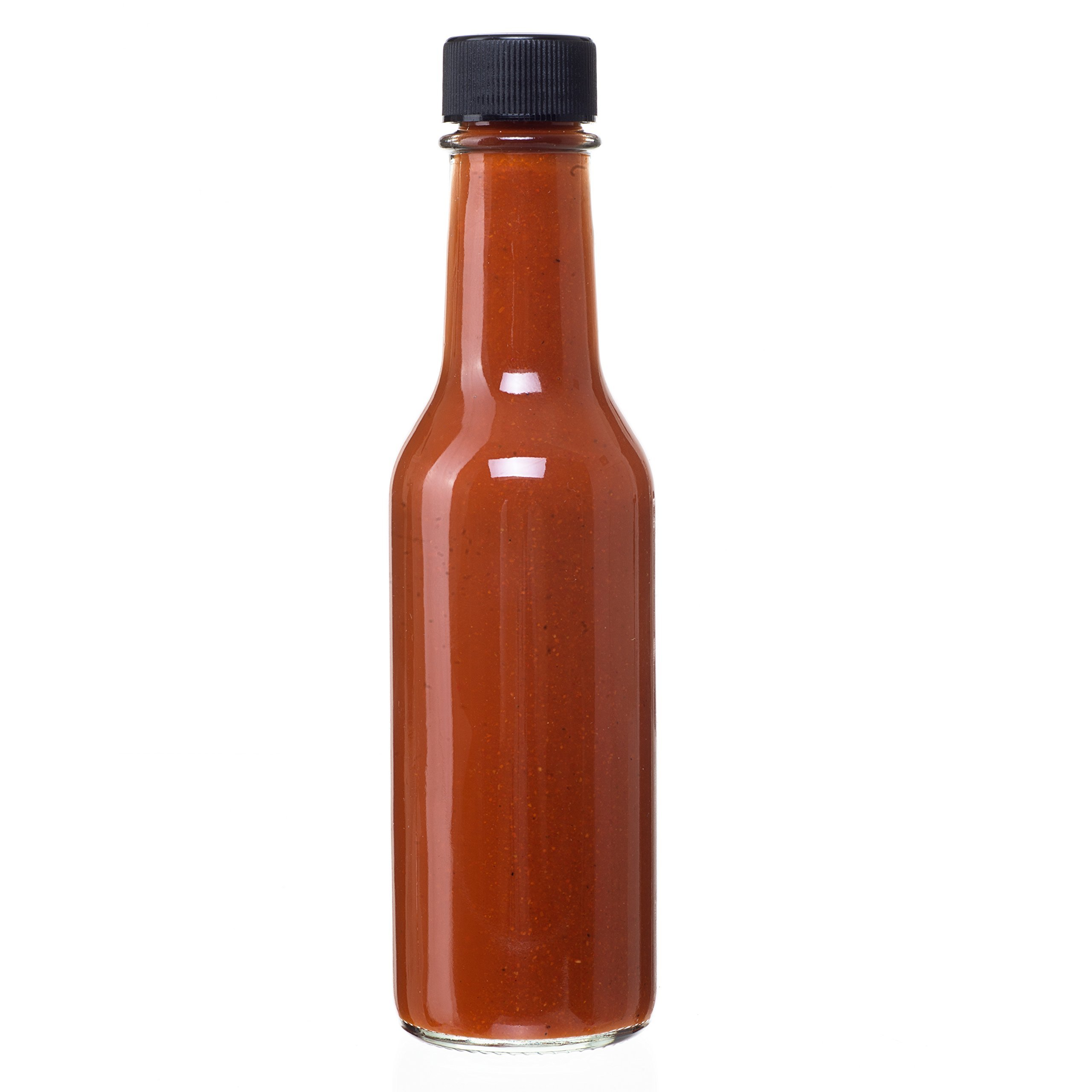 24 Pack - 5 Oz Empty Clear Glass Hot Sauce Bottles with Black Caps and Drip Dispensing Tops, By California Home Goods by California Home Goods (Image #2)