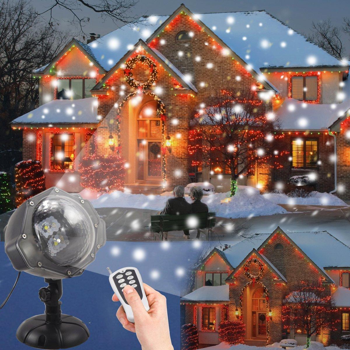 Weihnachtsbeleuchtung Aussen Led Projektionslampe JEENSO Mit Fernbedienung Schneefall Licht Weiße Schneeflocke Sie Können den Modus ändern Wasserdicht Landschaft Projektor Lampe DYDYLU DY-103