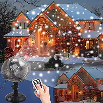 Weihnachtsbeleuchtung Für Draußen.Weihnachtsbeleuchtung Aussen Led Projektionslampe Jeenso Mit Fernbedienung Schneefall Licht Weiße Schneeflocke Sie Können Den Modus ändern