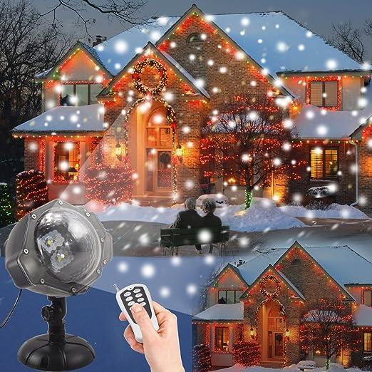 Proiettore Luci Natalizie Per Esterno Negozio.Proiettore Luci Led Natale Dydylu Luce Di Caduta Della Neve Romantico Fiocco Di Neve Impermeabile Rotante Wireless Telecomando Lampada Natale