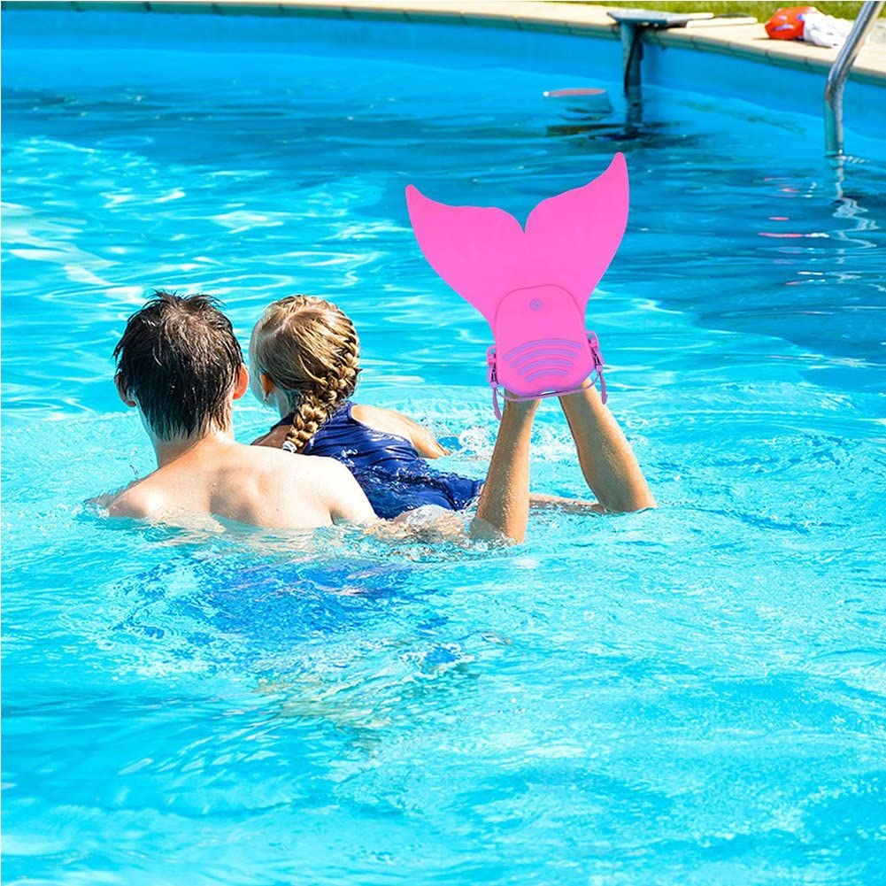 Waterproof Silica Gel Earplugs Nose Clip Included LiyaHair Monofin Mermaid Tails for Swimming Adjust Diving Mermaid Fins Foot Flipper Training Mono-Fin Tail PP Caudal for Girl Boy