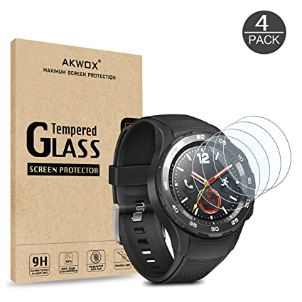 AKWOX [4 Unidades] Protector de Pantalla para Huawei Watch 2, [0.33MM] [9H Dureza] Cristal Vidrio Templado para Huawei Watch 2 Cristal Templado