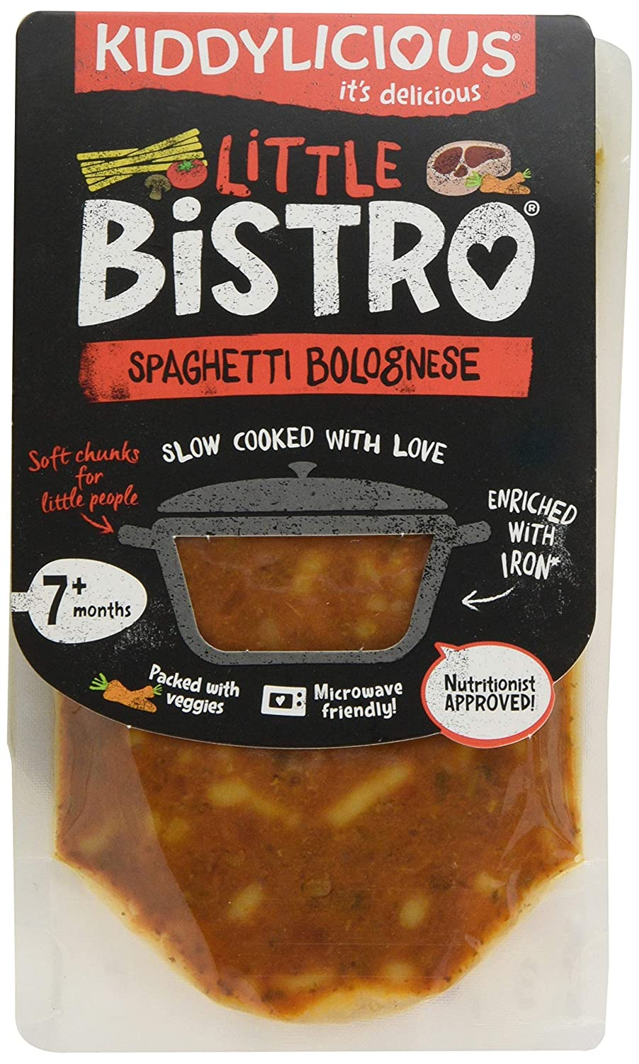 Kiddylicious Little Bistro Spaghetti Bolognese Stage 2 130g - Pack of 7 The Kids Food Co. 7080220
