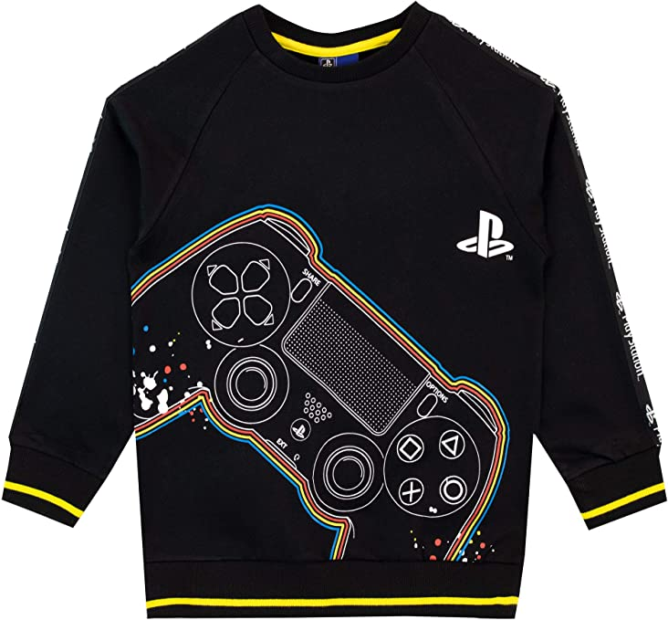 Sony Playstation Video Game Big Boy/'s Colorful Logo Navy Heather Hoodie New